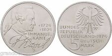 IMMANUEL KANT 5 MARK 1974 D GERMANIA MONETA ARGENTO
