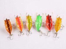 Mizugiwa 6pcs Popper Fishing Bait Lure Life-like Cicada Floating Topwater 4cm/7g