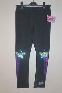 NEW JoJo Siwa Girl's Leggings Pants Black with Sequin Star Grey