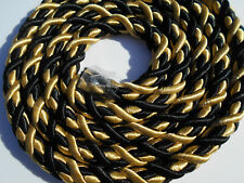 FABRIC CORD BLACK /GOLD  TRIMMINGS   10MM WIDE  GREAT QUALITY SOLD BY THE MTR