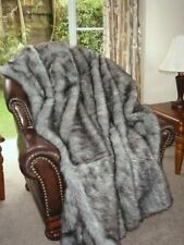 Grey Faux Fox Fur Throw Fake Fox Fur Double Size Faux Fur Throw Blanket LX4275D