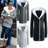 Plus Size Women Warm Hooded Long Zipper Jacket Coat Casual Hoodie Outwear S-3XL