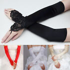2016 Fashion New Satin Beaded Long Gloves Wedding Bride Prom Fingerless Glove