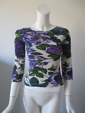 Charlotte Tarantola Purple Green Floral Prints Cotton Top fits XS/S