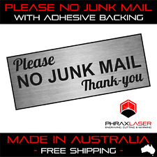 PLEASE NO JUNK MAIL THANKYOU - SILVER SIGN - LABEL - PLAQUE w/Adhesive 9CMx3.5CM