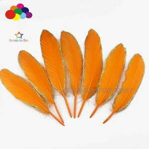 10-100pcs Gold Dipped Orange goose feather 15-20CM to the market Plumes