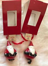 """2 GUND jolly Santa Claus Ornaments small ceramic 2 in holiday """"BOOTS Hang"""" LOT"""
