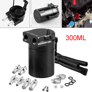 Black Aluminum Baffled Oil Catch Can Tank Reservoir Breather Kit with Fittings