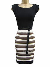 Boat Neck Party Stretch, Bodycon Striped Dresses for Women