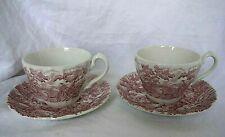 2 grandes tasses à thé en faïence anglaise Myott décor rose