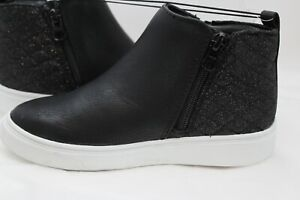 NWT Cat & Jack Girls Shoes Black Faux Leather Slip on Ankle Boots SIZE 13