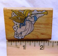 ANGEL WITH HORN Rubber Stamp Wood Mount by Comotion Rubber Stamps Vintage