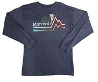 Marmot x Thread Men T-Shirt Heather Blue Large L Crewneck Ski Piste Tee $35 208