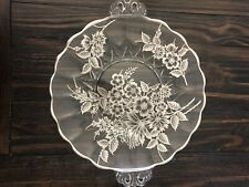 Vintage Floral Tray Clear Glass 11�