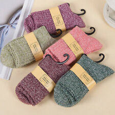 5 Pairs Women Wool Cashmere Thick Warm Soft Solid Casual Sports Socks Winter GY