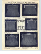 1910 PAPER AD 2 Sided German Silver Mesh Hand Bags Purse 14 Designs Images