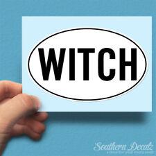"Witch Euro Oval - Vinyl Decal Sticker - c38 - 6"" x 3.75"""