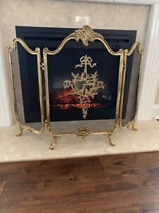 Vtg Gold Gilt Fireplace Screen Clawfoot Art Nouveau Rococo Hollywood Regency