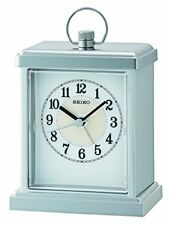 Seiko Qhe148s Small Carriage mantel Alarm Clock with Silver Finish