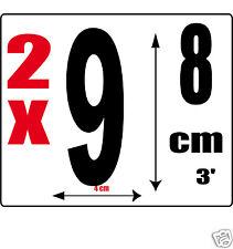 lot 2 Chiffres [9] Sticker autocollant noir hauteur 8cm Lettre en vinyle