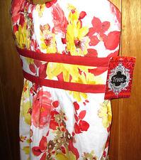 Trixxi Girl Floral Dress Red White Yellow Padded Spaghetti Strap Womens Size 7