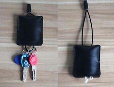 key bag case chain box ID card Cow Leather Pouch Customize handmade balck Z508