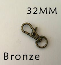 Bronze 32mm Ring Charm Iron Parrot Swivel Lobster Clasp Dog Chain Bag Keyrings