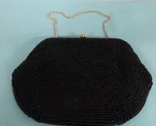 Beaded black clutch  purse with chain handle  hand bag