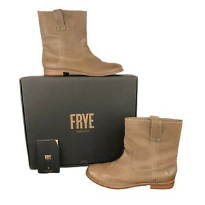 NEW Frye Anna Shortie Pull-On Leather Ankle Boots Women's Size 9 Ash Taupe Brown