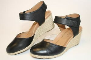Vionic Womens 7.5 38.5 Loika Leather Wedge Espadrille Closed Toe Comfort Shoes