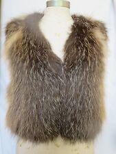 Vince Fox Fur Multi Color Brown Tan Animal Print V Neck Sleeveless Vest Sz XS