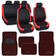 Black & Red Car Seat Covers w/ Split Bench & Solid Burgundy Carpet Floor Mats