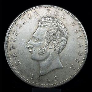 Ecuador 5 Sucres 1943 Mexico City Mint Uncirculated Silver Coin KM #79  C#2