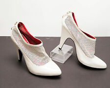 "Womens Bershka High Heel Shoes 9.5US 41 Euro 4"" Heel Zip Back White"
