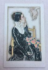 CPA Ancienne Carte Postale signée illustrateur MAUZAN édition 1917 Femme & Ange3