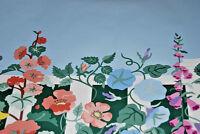Wallpaper Brewster's Floral Garden  Blue, Salmon, Yellow Flowers   W1068