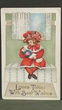 Loves Token With Best Wishes Vintage 1914 Valentine Post Card Girl Cradling Doll
