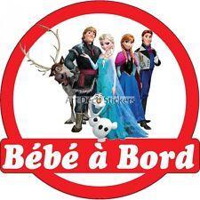 Stickers Bébé à bord La reine des neiges 16x16cm réf 15138 15138