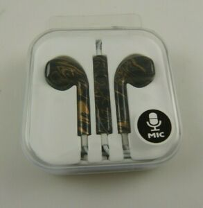 Cell phone electronics ear bud buds mic black and gold