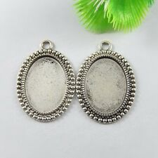 20pcs Antiqued Silver Alloy Oval Lace Cameo Setting Pendant Charms Jewelry Craft