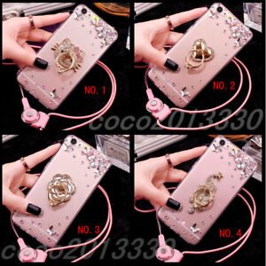 Luxury Bling Diamond Crystal Ring Holder stand Soft Case Cover & neck strap #H16