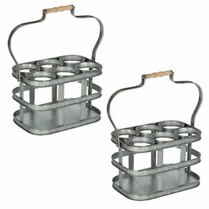Levy Vintage Galvanized Metal 6 Bottle Carrier with Handle, Set of 2