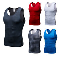 Men's Compression Vest Athletic Fitness Gym Tank Top Dri fit Stretchy Wicking