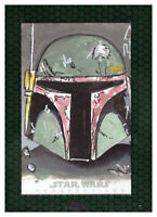 2015 Topps Star Wars Chrome 1/1 SKETCH Artist TOM CARLTON Perspectives BOBA FETT