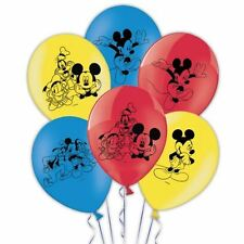 "6 x Disney Mickey mouse Latex red, blue, yellow 11"" Balloons"