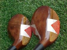 New listing Left Hand LH PERSIMMON Spalding Fancy Face Rare Set Golf Clubs Driver & 3 Woods