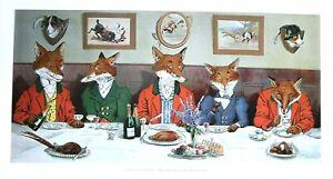 MR FOX'S HUNT BREAKFAST ON XMAS (CHRISTMAS) DAY LARGE 13x24ins.