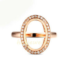 10x14mm Oval Cut Solid 18K Rose Gold Natural Diamond Semi Mount Ring Setting