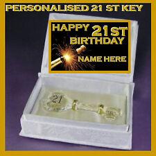 21st HAPPY BIRTHDAY PERSONALISED GLASS KEY IN SATIN BOOK PRESENT TWENTY ONE