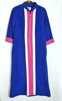 Vanity Fair Vintage Zip Front Long Velour Robe Blue Pink Stripe Housecoat Sz 12